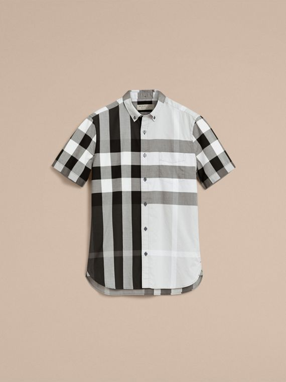 Button-down Collar Short-sleeve Check Cotton Shirt in Light Grey - Men | Burberry - cell image 3
