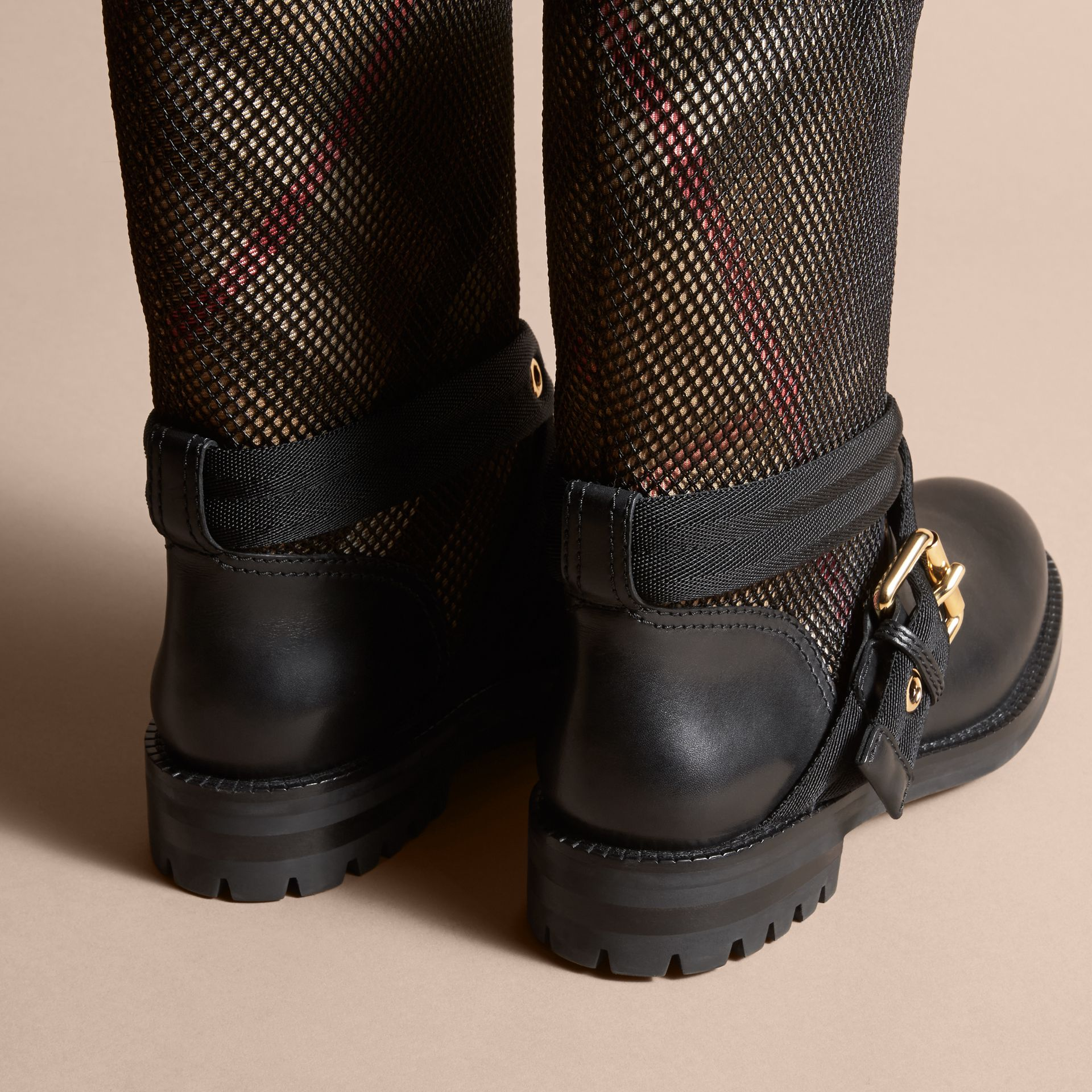 Leather, Mesh and House Check Boots in Black - Women | Burberry - gallery image 4