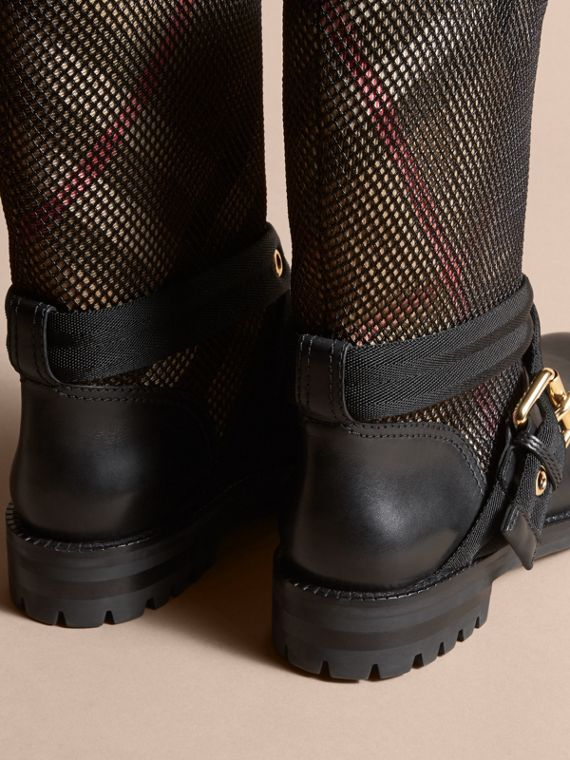 Leather, Mesh and House Check Boots in Black - Women | Burberry - cell image 3