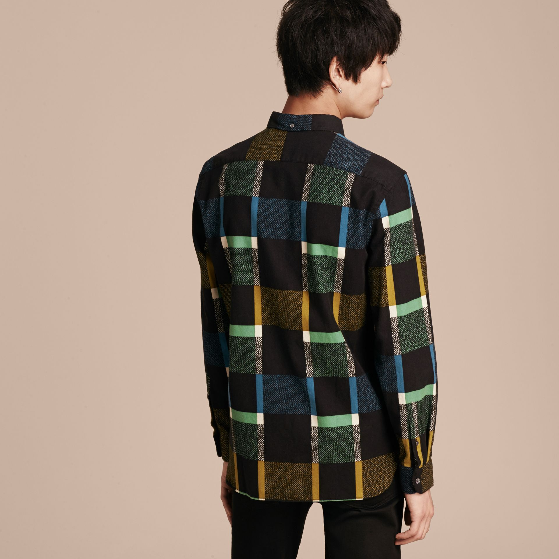 Racing green Check Print Cotton Blend Shirt - gallery image 3