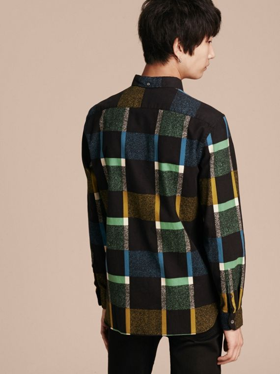 Racing green Check Print Cotton Blend Shirt - cell image 2