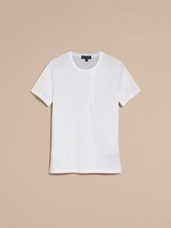 White Ruffle Detail Cotton T-shirt White - cell image 3