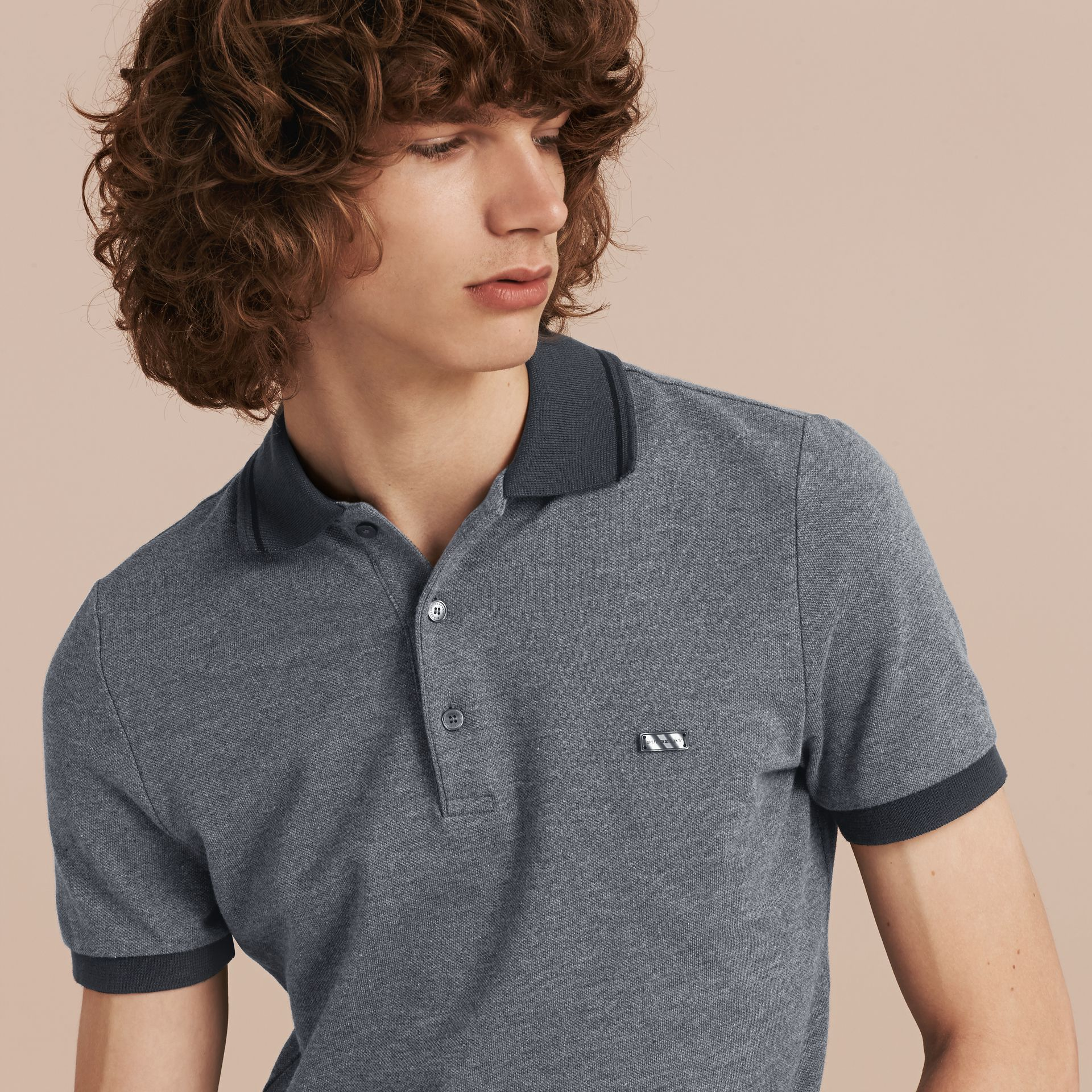 Mid grey melange Contrast Trim Cotton Piqué Polo Shirt Mid Grey Melange - gallery image 5