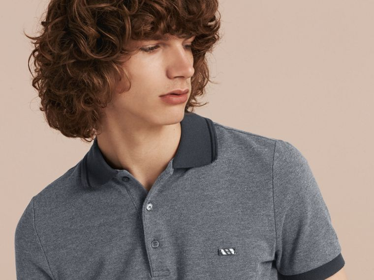 Mid grey melange Contrast Trim Cotton Piqué Polo Shirt Mid Grey Melange - cell image 4
