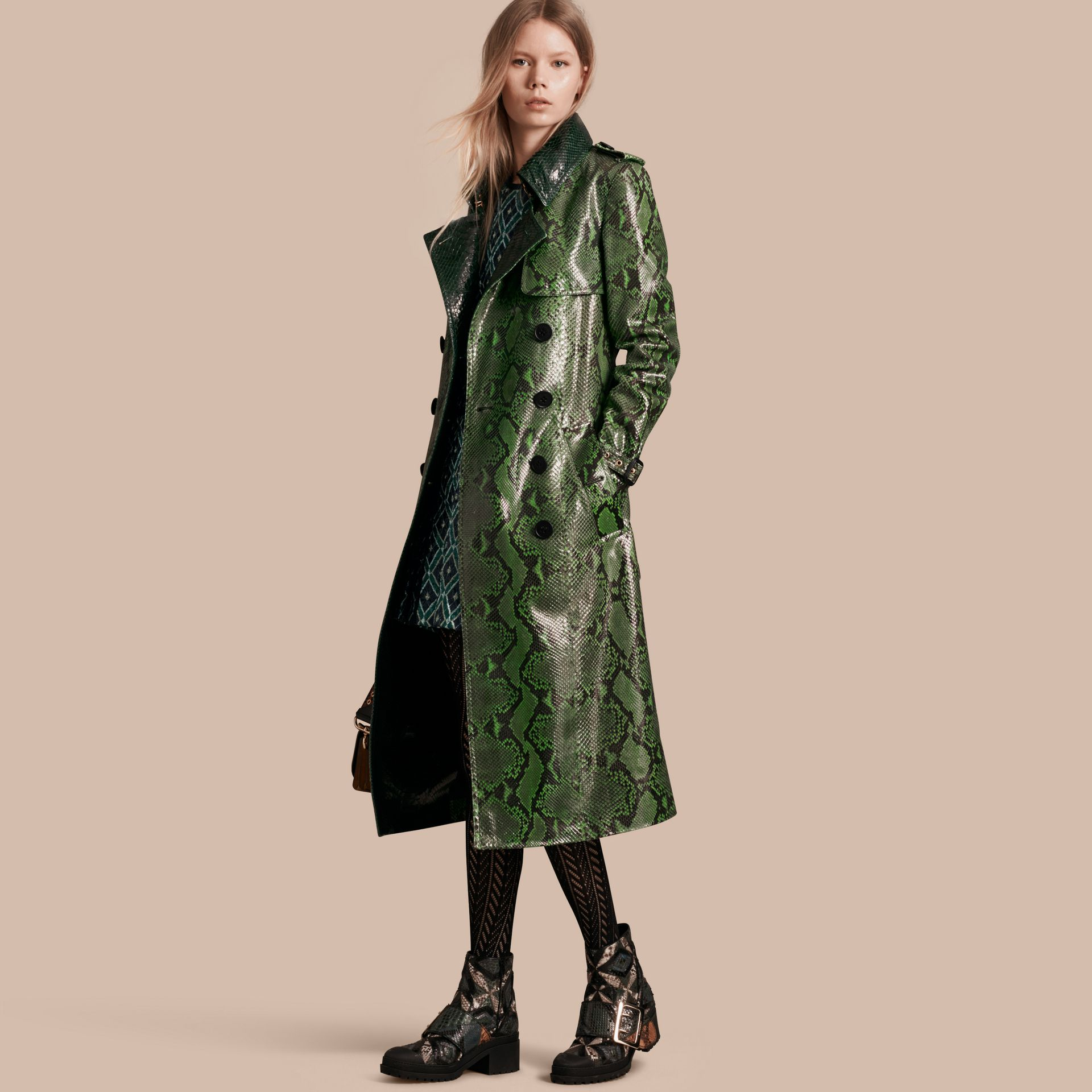Bright green Unlined Python Trench Coat - gallery image 1