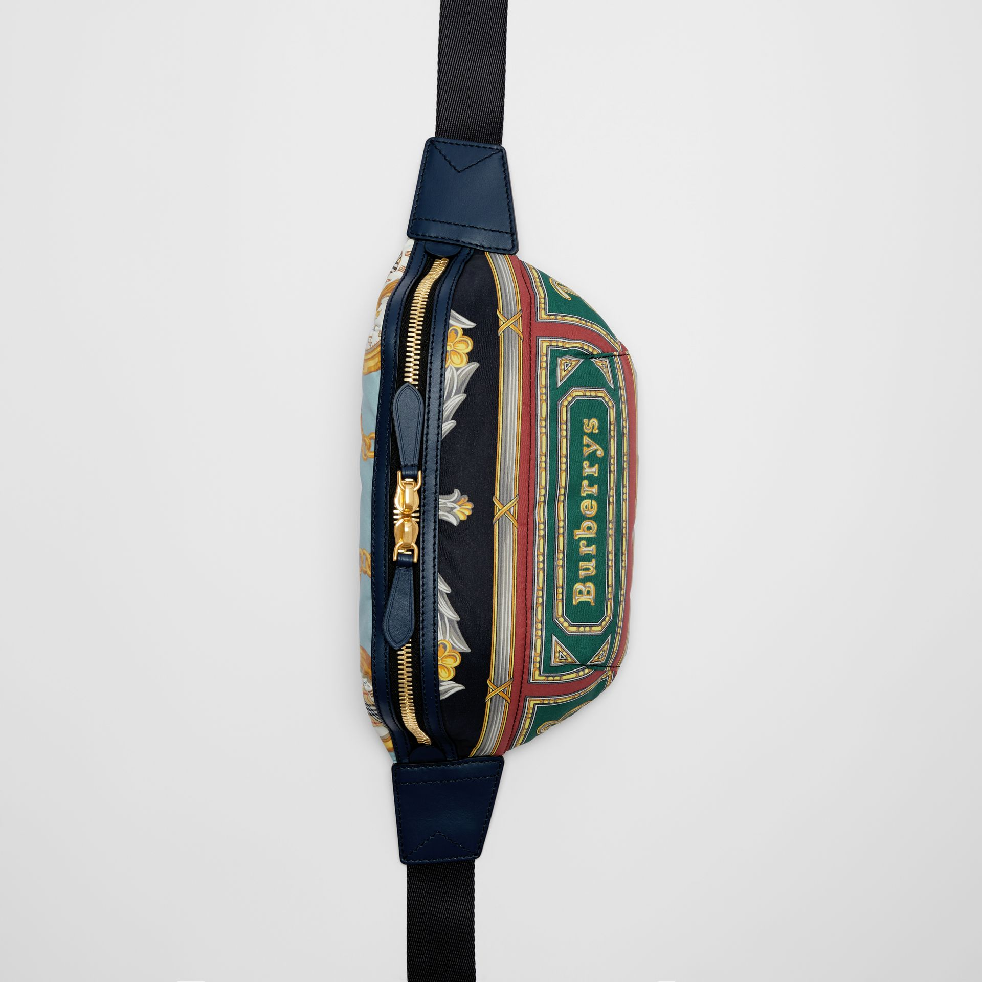 Medium Archive Scarf Print Bum Bag in Forest Green | Burberry - gallery image 0