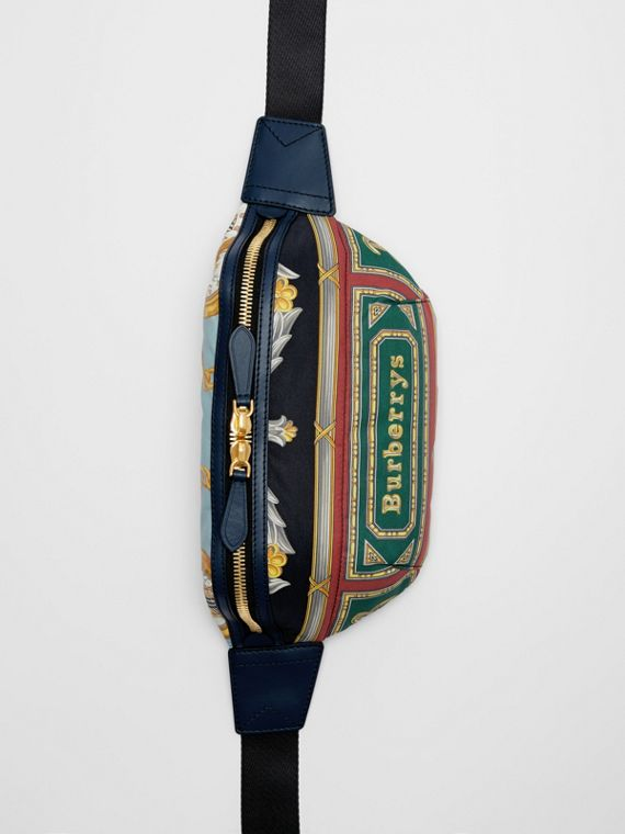 Medium Archive Scarf Print Bum Bag in Forest Green