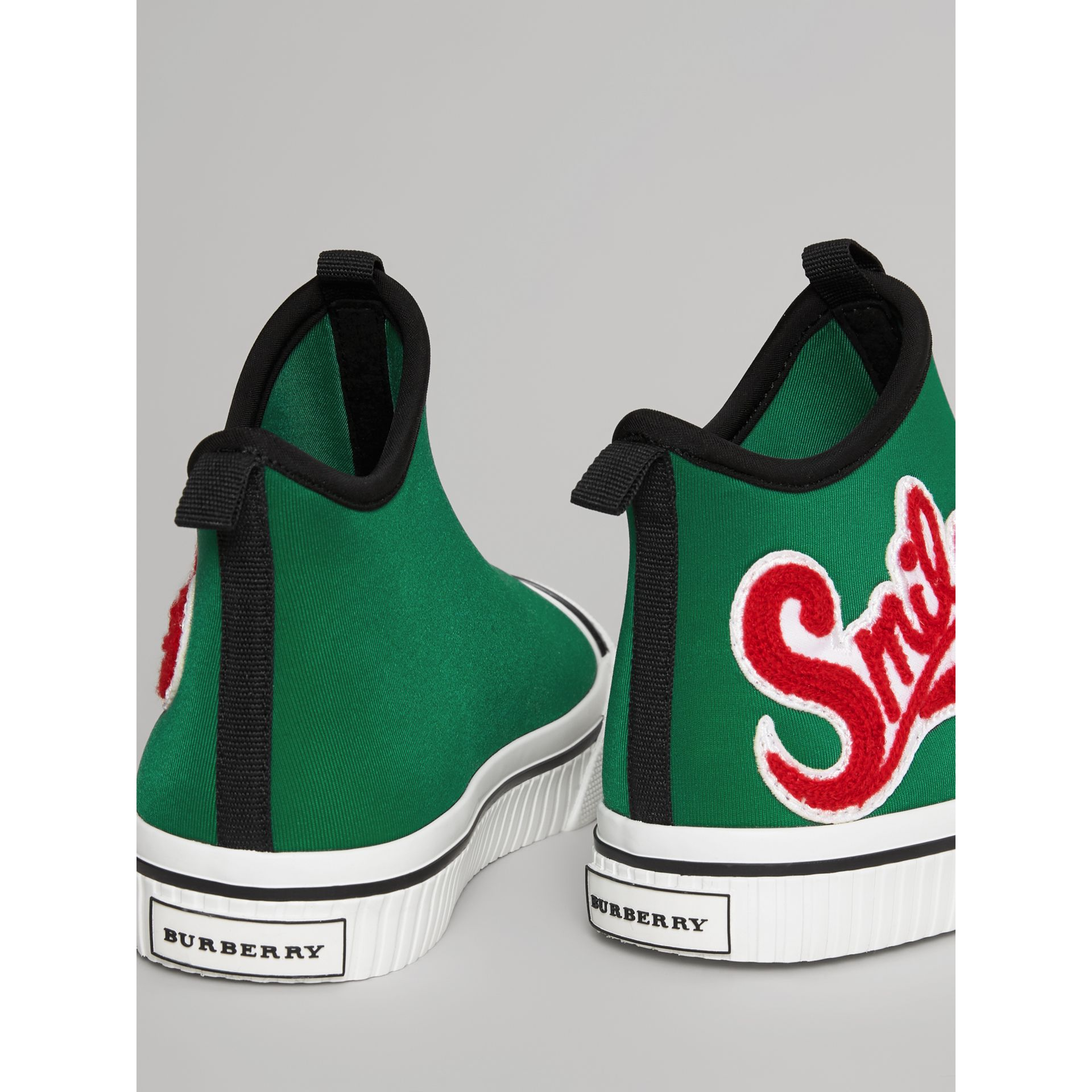 Embroidered Neoprene High-top Sneakers in Bright Pigment Green | Burberry - gallery image 2