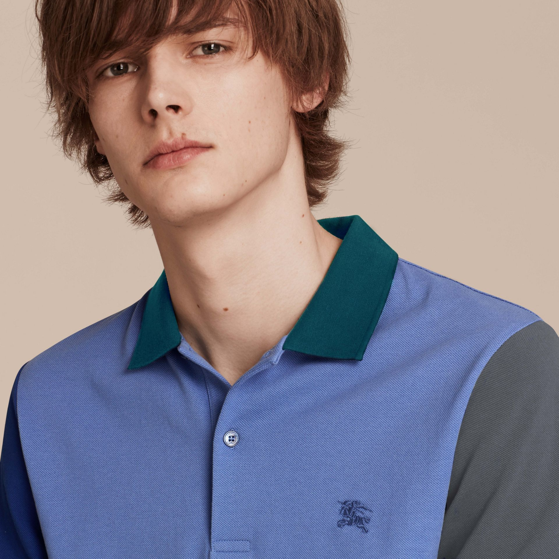 Bright hydrangea blue Colour-block Cotton Piqué Polo Shirt Bright Hydrangea Blue - gallery image 5