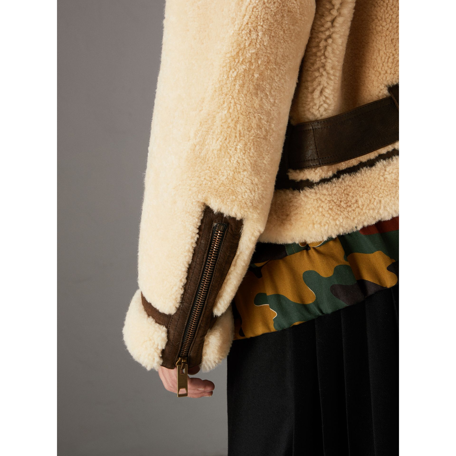 Reissued 2010 Shearling Aviator in Sand | Burberry Singapore - gallery image 4