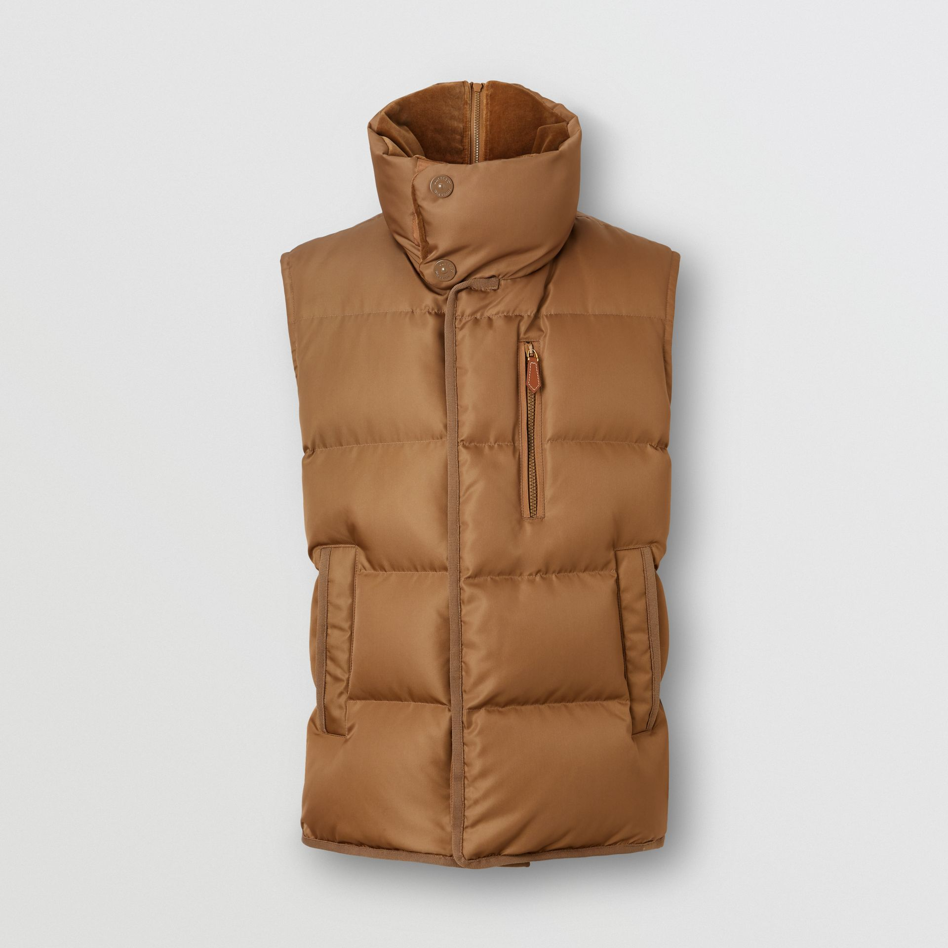 Velvet Trim Down-filled Nylon Puffer Gilet in Warm Walnut - Men | Burberry - gallery image 3