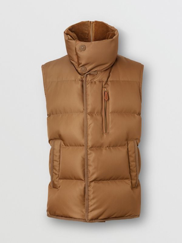 Velvet Trim Down-filled Nylon Puffer Gilet in Warm Walnut - Men | Burberry - cell image 3