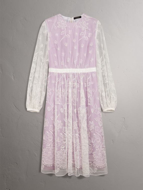 Puff-sleeve Embroidered Tulle Dress in Lilac/white - Women | Burberry Hong Kong - cell image 3