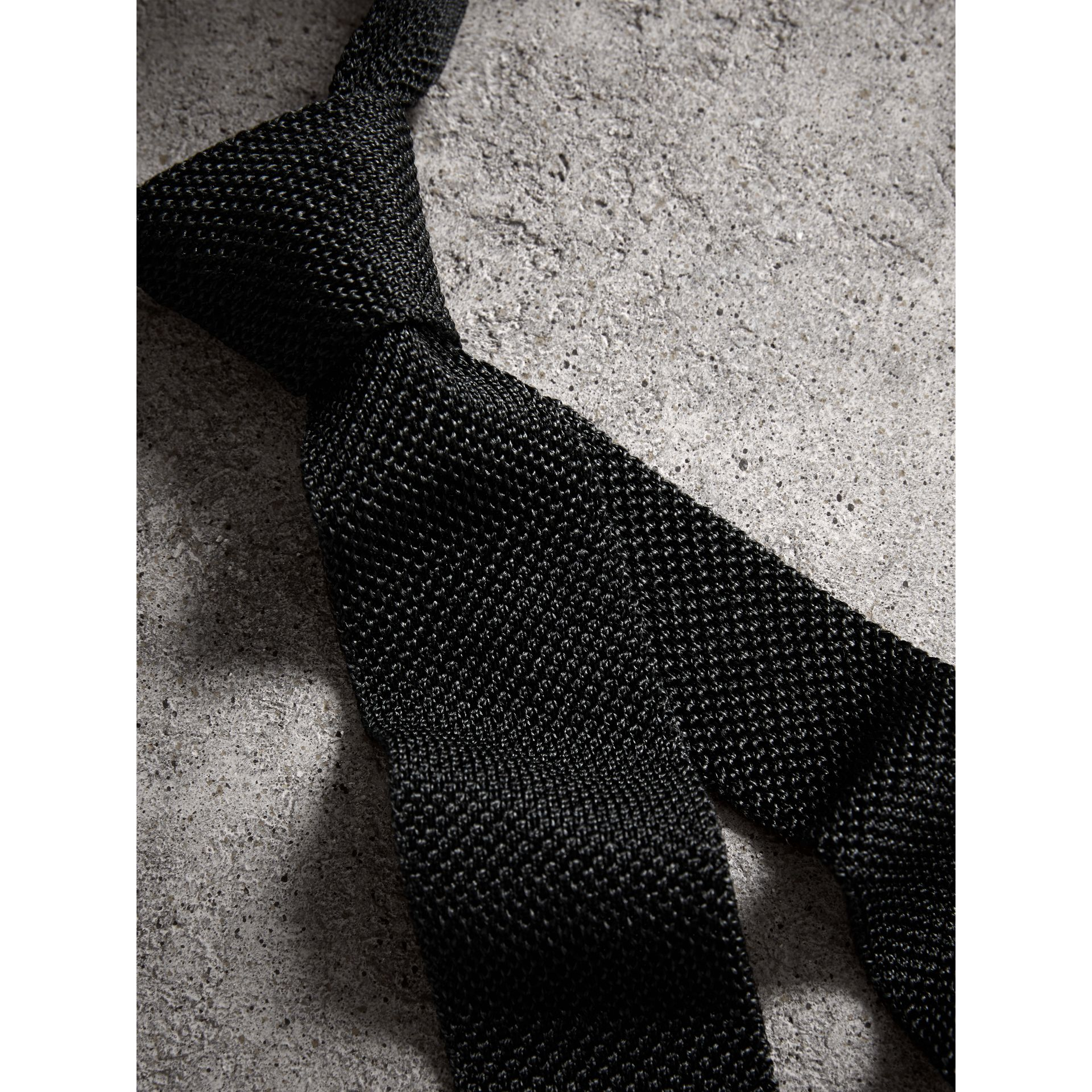 Slim Cut Two-tone Knitted Silk Tie in Black - Men | Burberry - gallery image 4