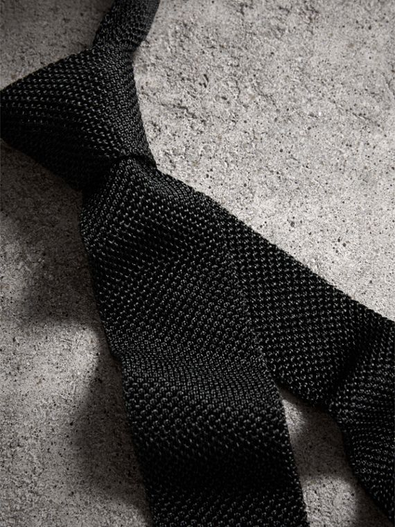 Slim Cut Two-tone Knitted Silk Tie in Black - Men | Burberry Canada - cell image 3