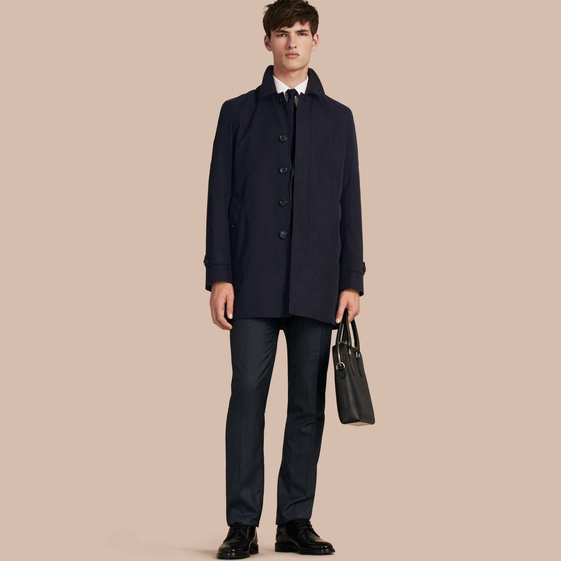 Cotton Gabardine Car Coat in Navy - gallery image 1