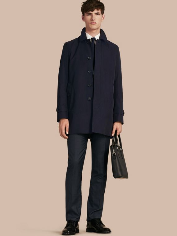 Cotton Gabardine Car Coat in Navy