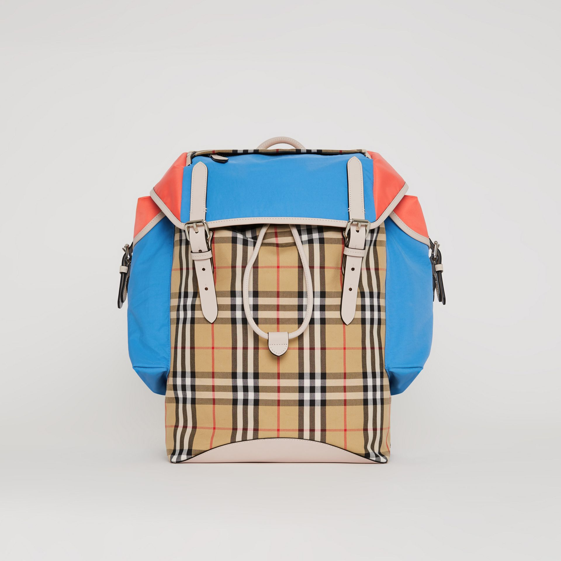 Colour Block Vintage Check and Leather Backpack in Cerulean Blue - Men | Burberry - gallery image 0