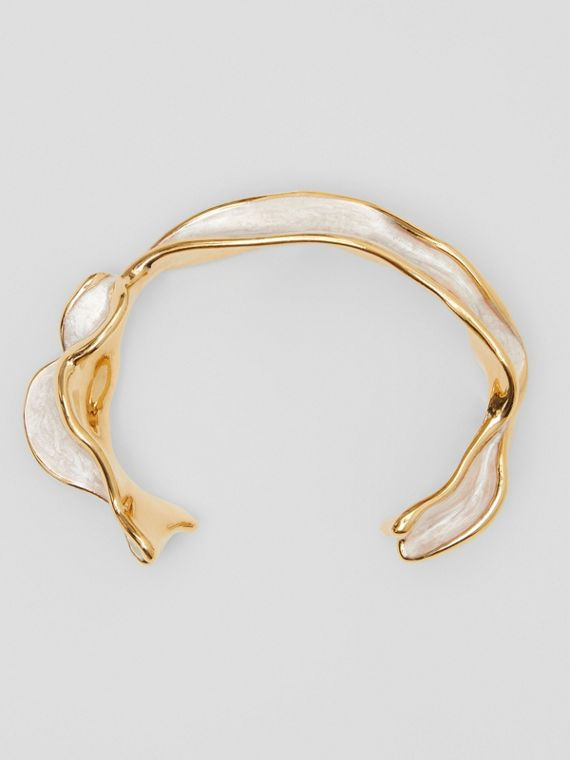 Enamel and Gold-plated Sculpted Cuff in Light