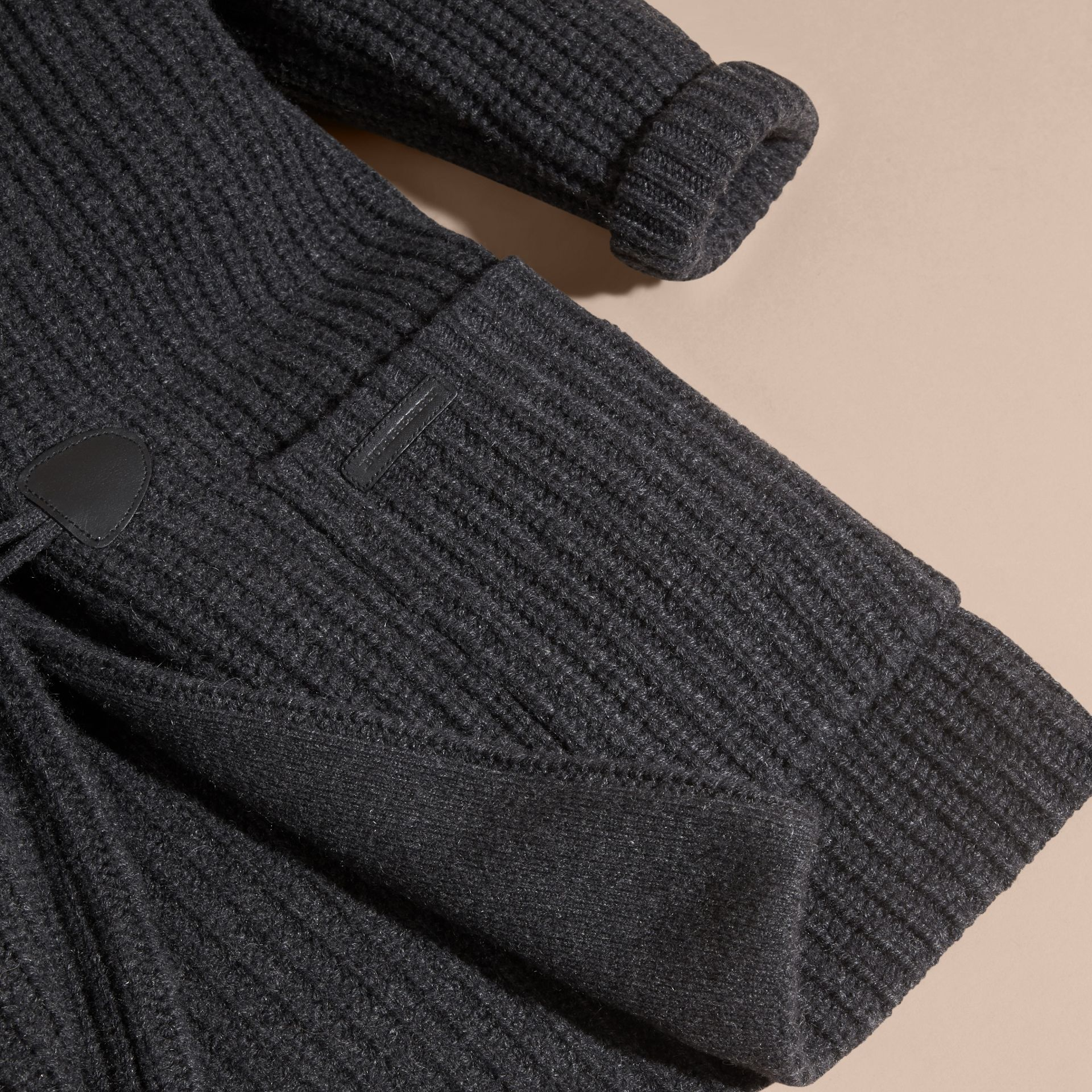 Charcoal melange Toggle Closure Wool Cashmere Cardigan - gallery image 6