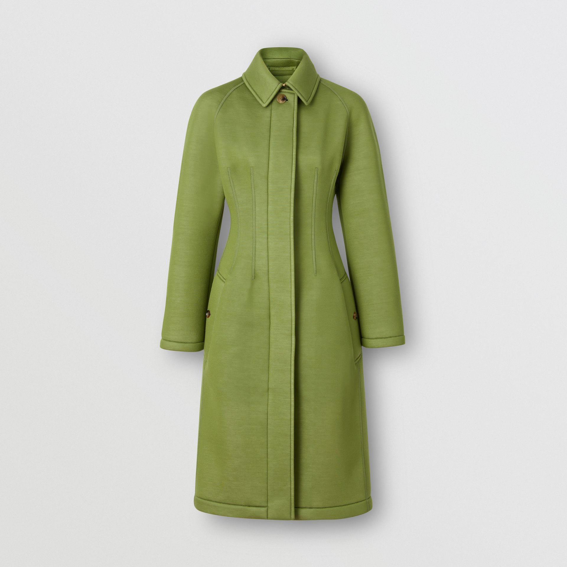 Bonded Neoprene Tailored Car Coat in Cedar Green - Women | Burberry - gallery image 3