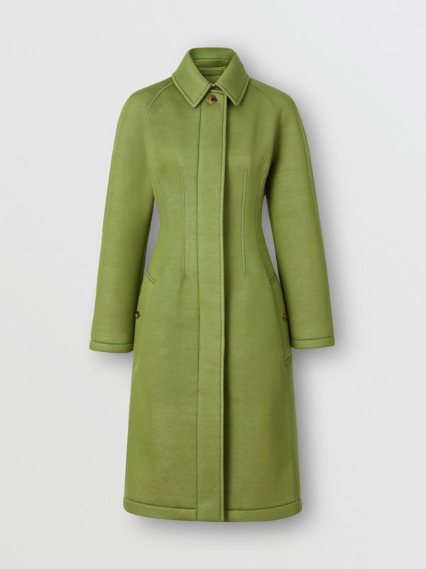 Bonded Neoprene Tailored Car Coat in Cedar Green - Women | Burberry - cell image 3
