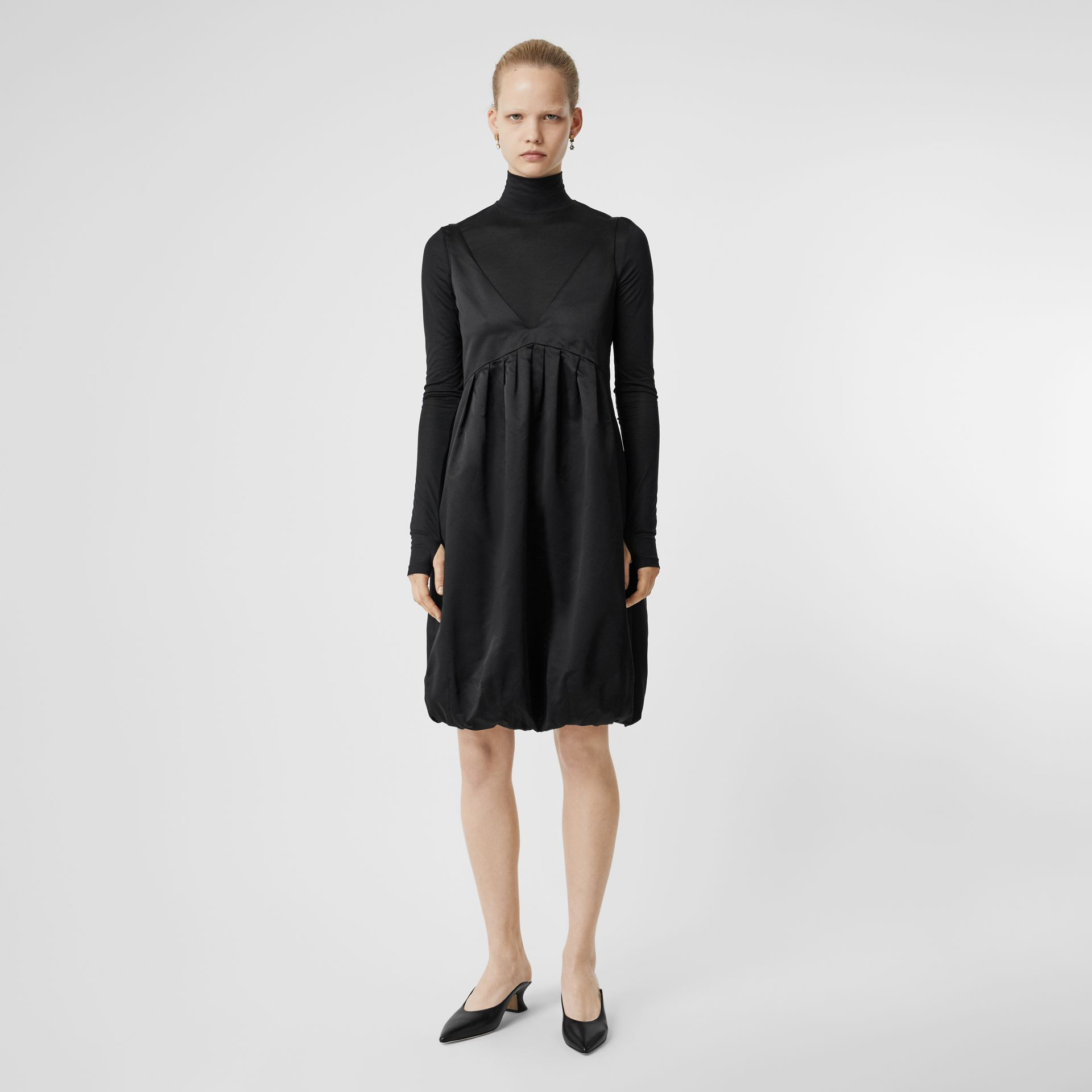 Silk Jersey Turtleneck Top in Black - Women | Burberry Hong Kong S.A.R - gallery image 0