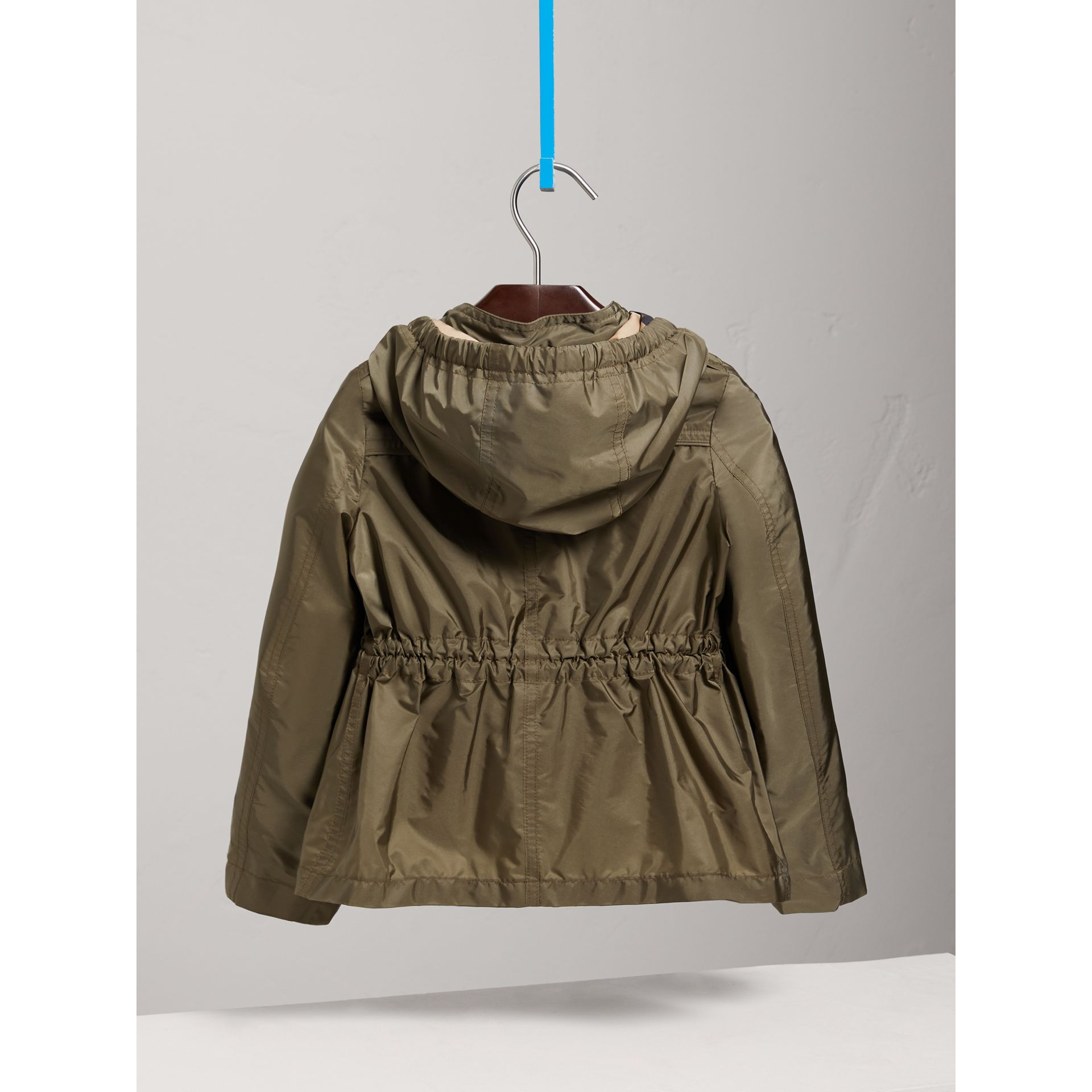 Hooded Packaway Technical Jacket in Olive - Girl | Burberry United Kingdom - gallery image 3