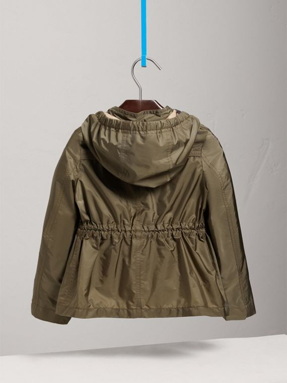 Hooded Packaway Technical Jacket in Olive - Girl | Burberry United Kingdom - cell image 3
