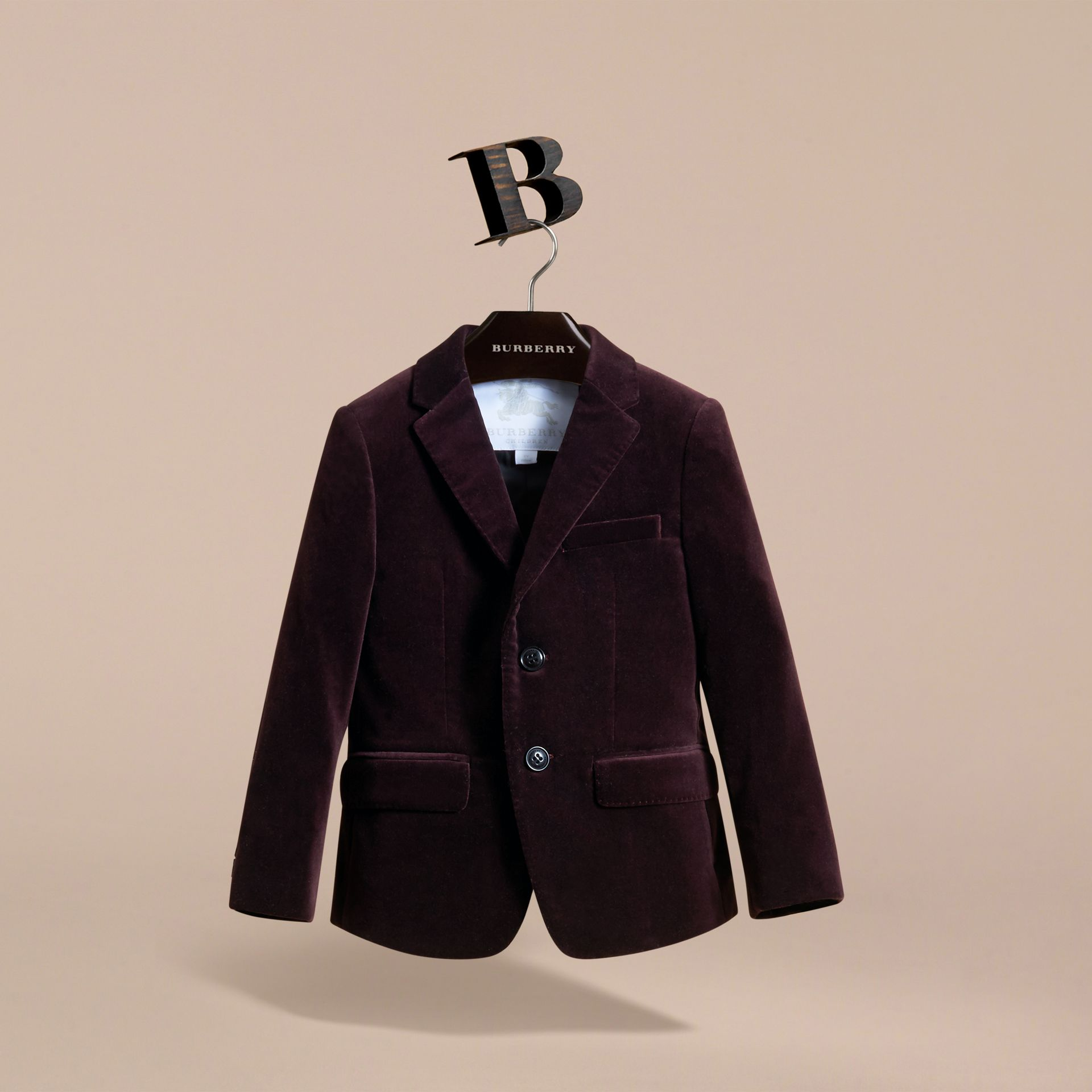 Tailored Velvet Blazer in Blackcurrant - Boy | Burberry Canada - gallery image 2