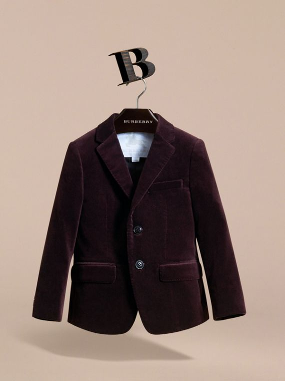 Tailored Velvet Blazer in Blackcurrant - Boy | Burberry Canada - cell image 2