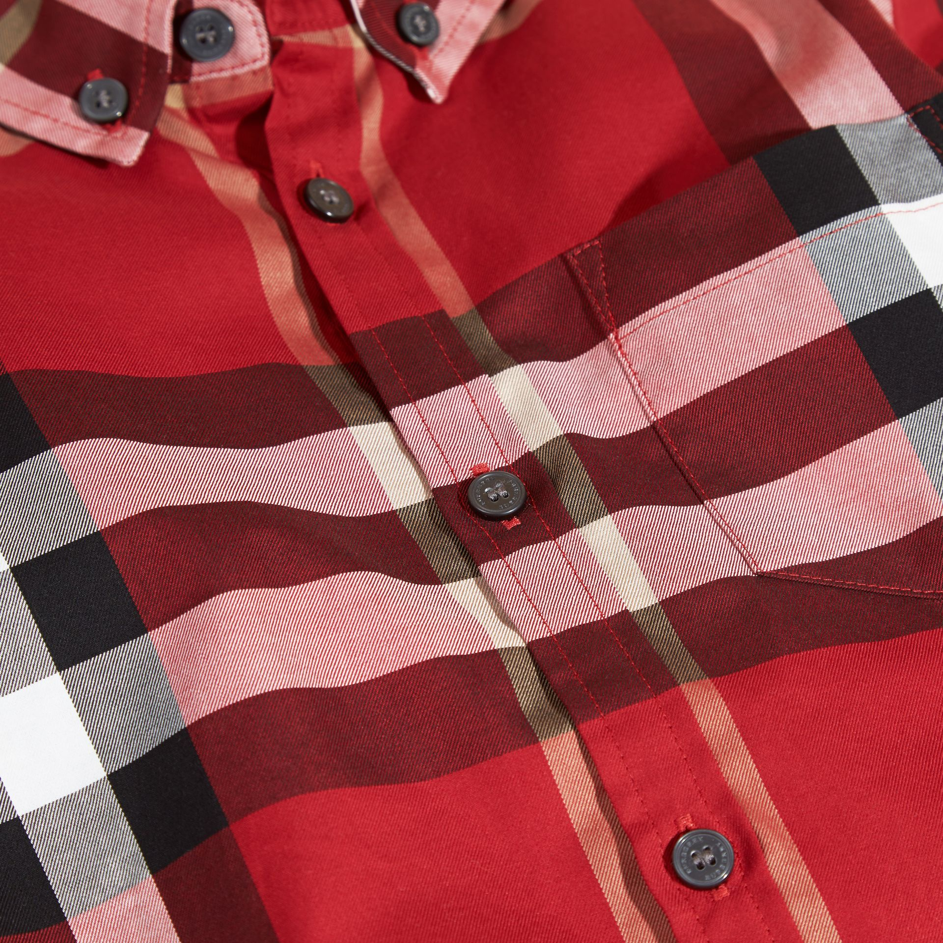 Check Cotton Button-Down Shirt in Parade Red - Boy | Burberry - gallery image 2