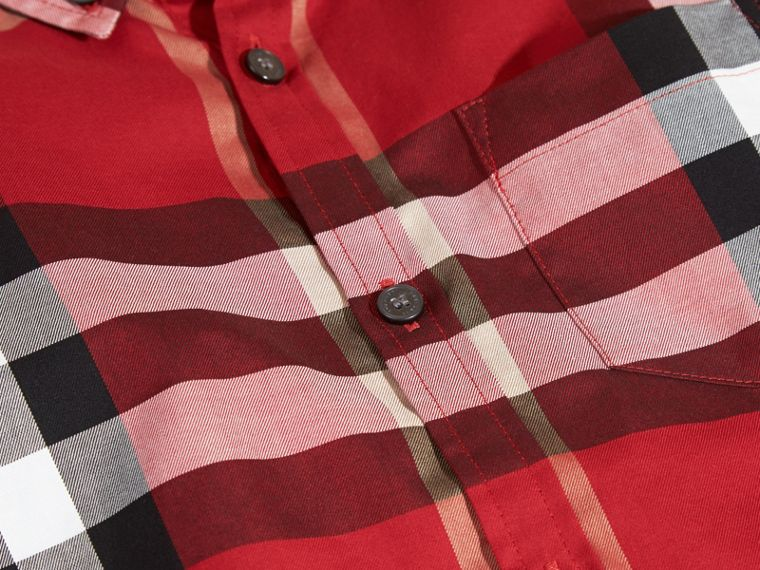 Check Cotton Button-Down Shirt in Parade Red - cell image 1