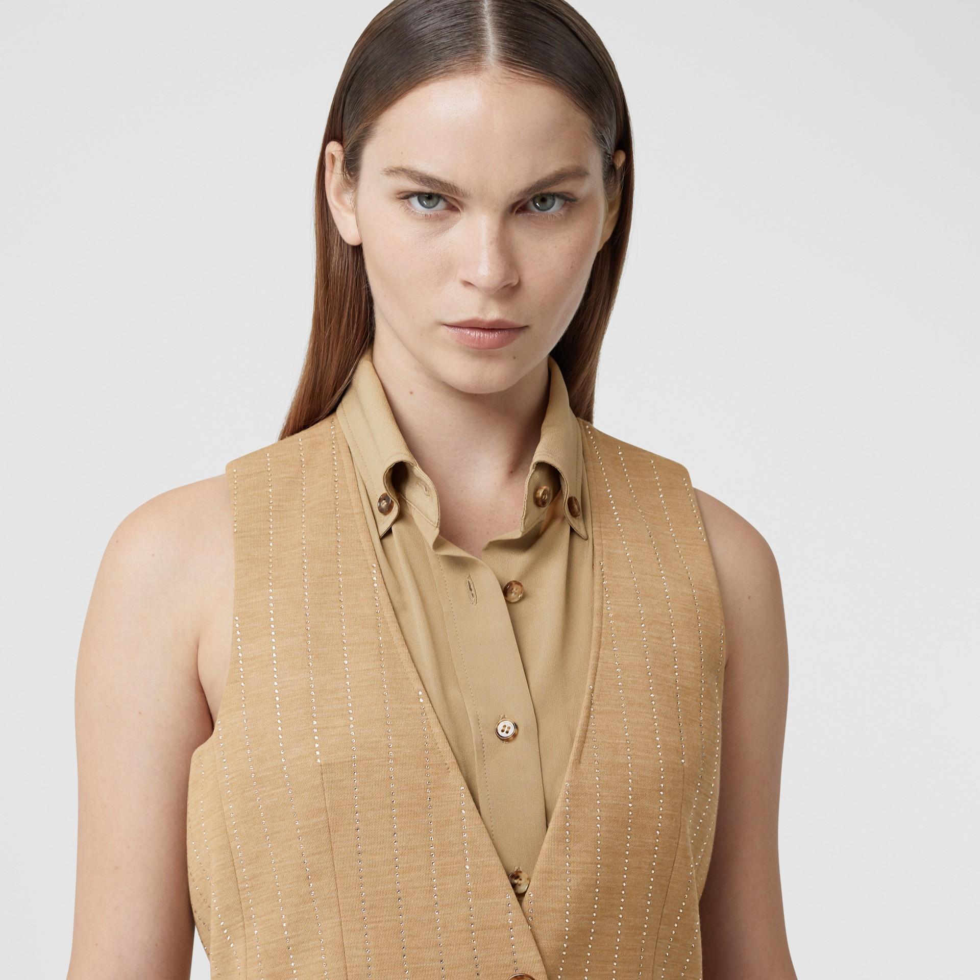 Shirt Detail Crystal Pinstriped Wool Blend Waistcoat in Pecan Melange - Women | Burberry - gallery image 1