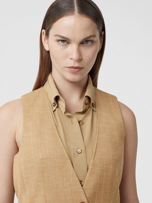 Shirt Detail Crystal Pinstriped Wool Blend Waistcoat in Pecan Melange - Women | Burberry Australia - cell image 1