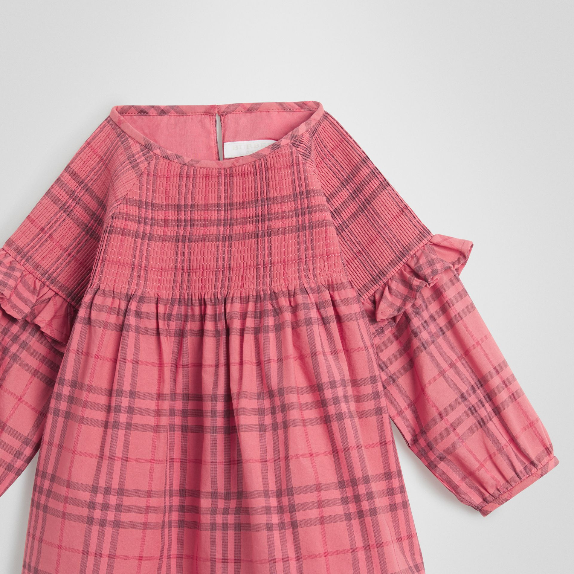 Ruffle Detail Check Cotton Dress in Coral Red - Children | Burberry - gallery image 4