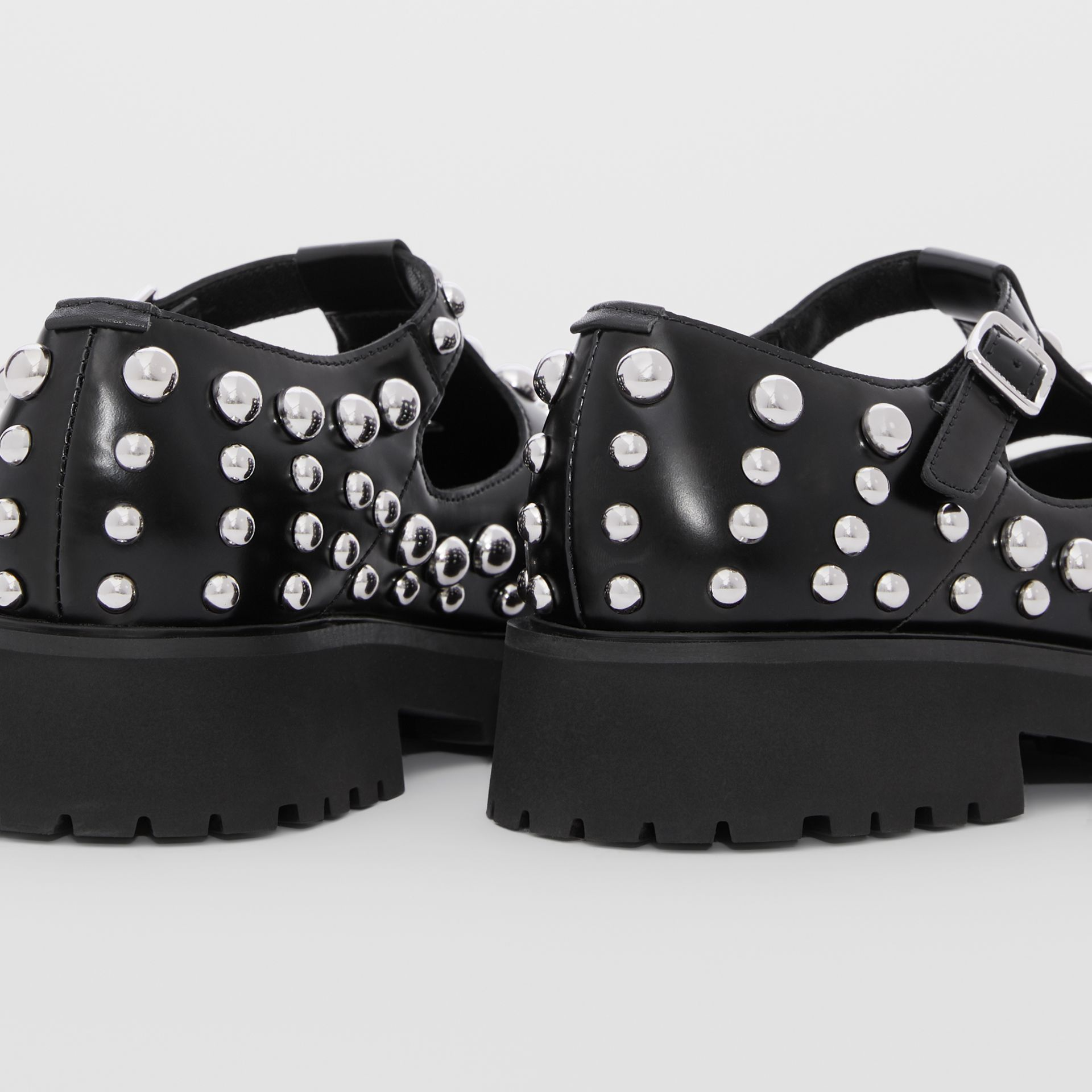 Studded Leather T-bar Shoes in Black - Children | Burberry - gallery image 1
