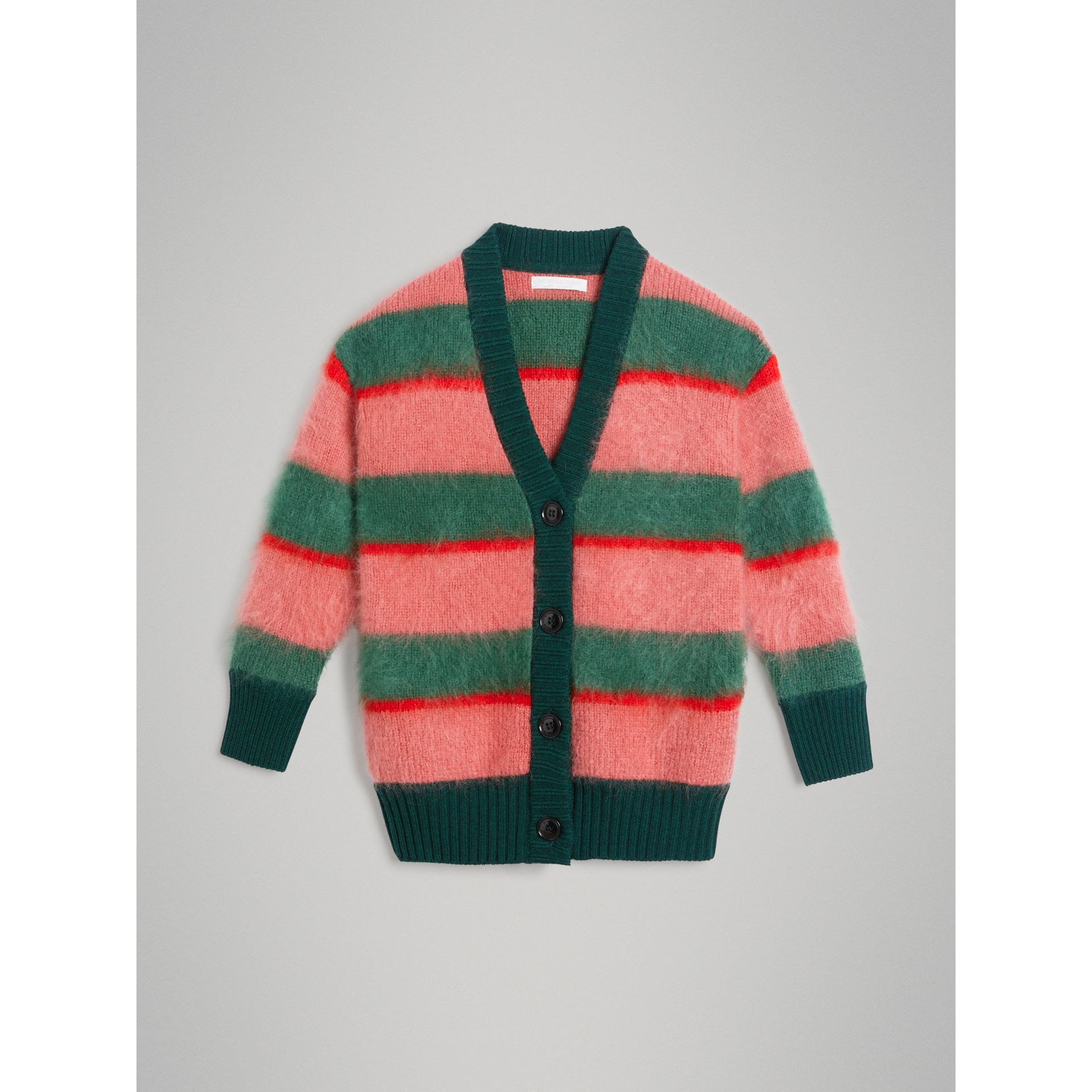 Tri-tone Striped Mohair Blend Cardigan in Dark Forest Green - Girl | Burberry - gallery image 0