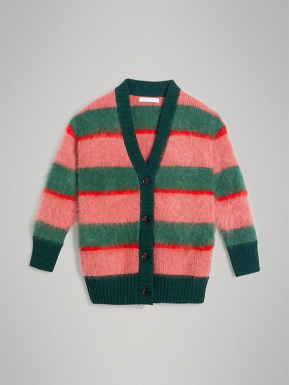 Tri-tone Striped Mohair Blend Cardigan in Dark Forest Green