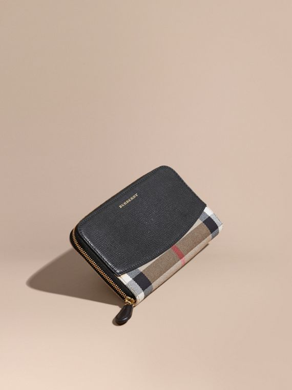 House Check and Leather Ziparound Wallet in Black - Women | Burberry Singapore