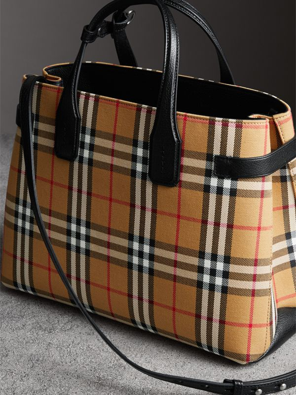 The Medium Banner in Vintage Check and Leather in Black - Women | Burberry Hong Kong - cell image 2