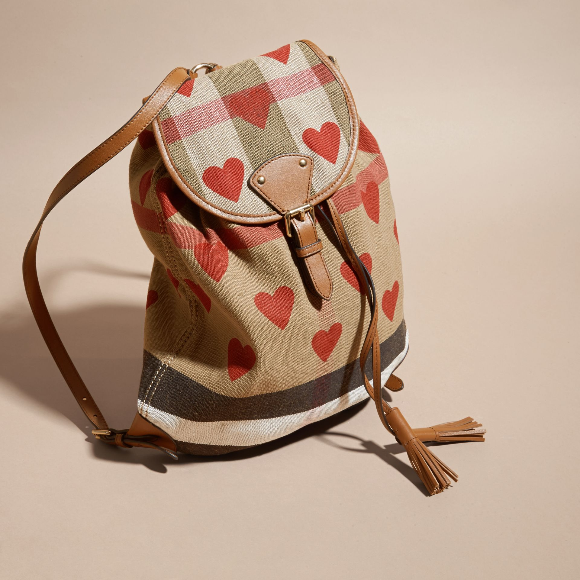 Parade red/tan Heart Print Canvas Check Backpack with Leather Trim Parade Red/tan - gallery image 7
