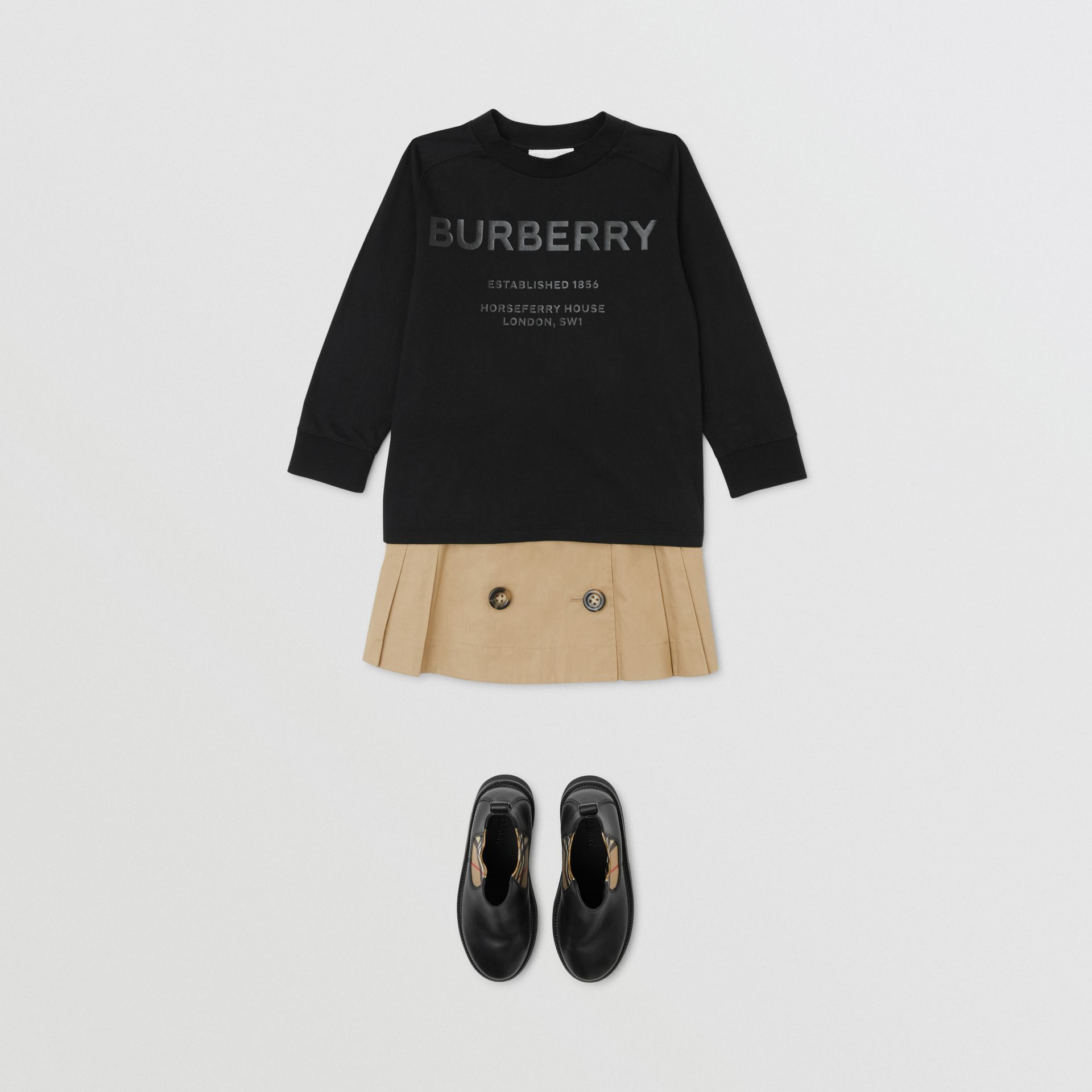 Long-sleeve Horseferry Print Cotton Top in Black | Burberry - gallery image 3