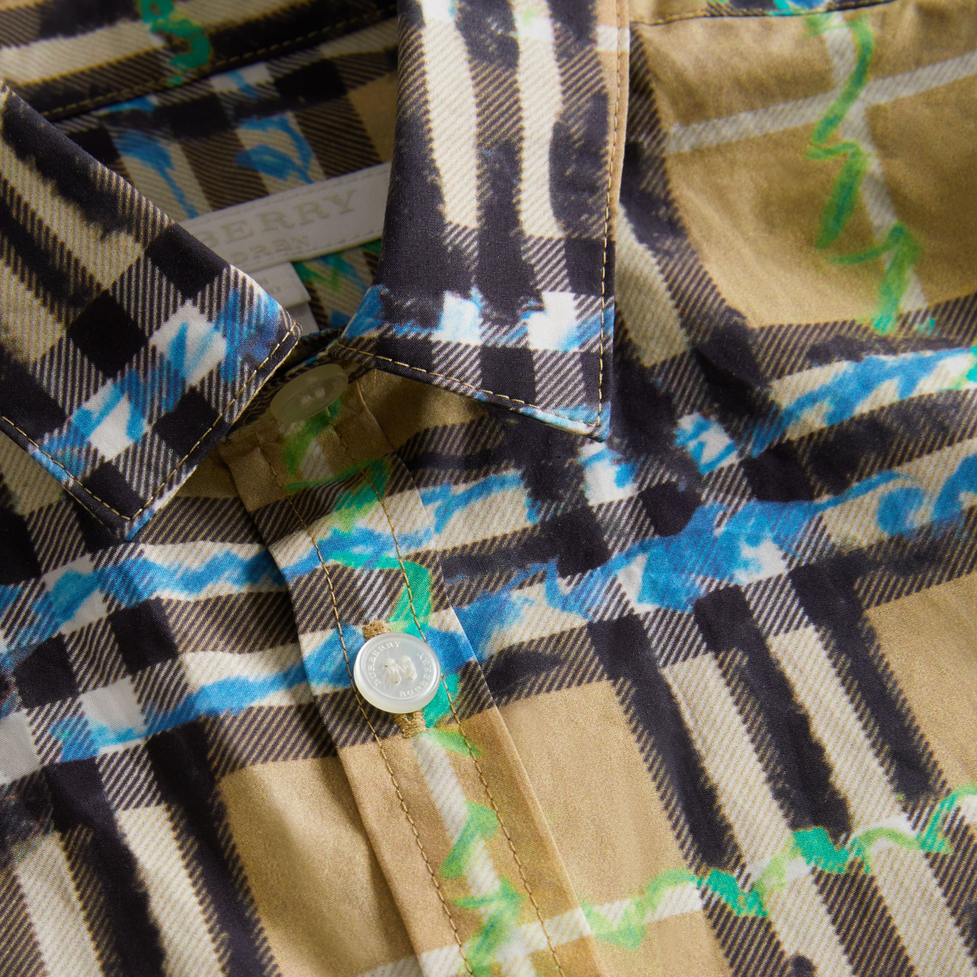Short-sleeve Scribble Check Cotton Shirt in Bright Blue | Burberry - gallery image 1