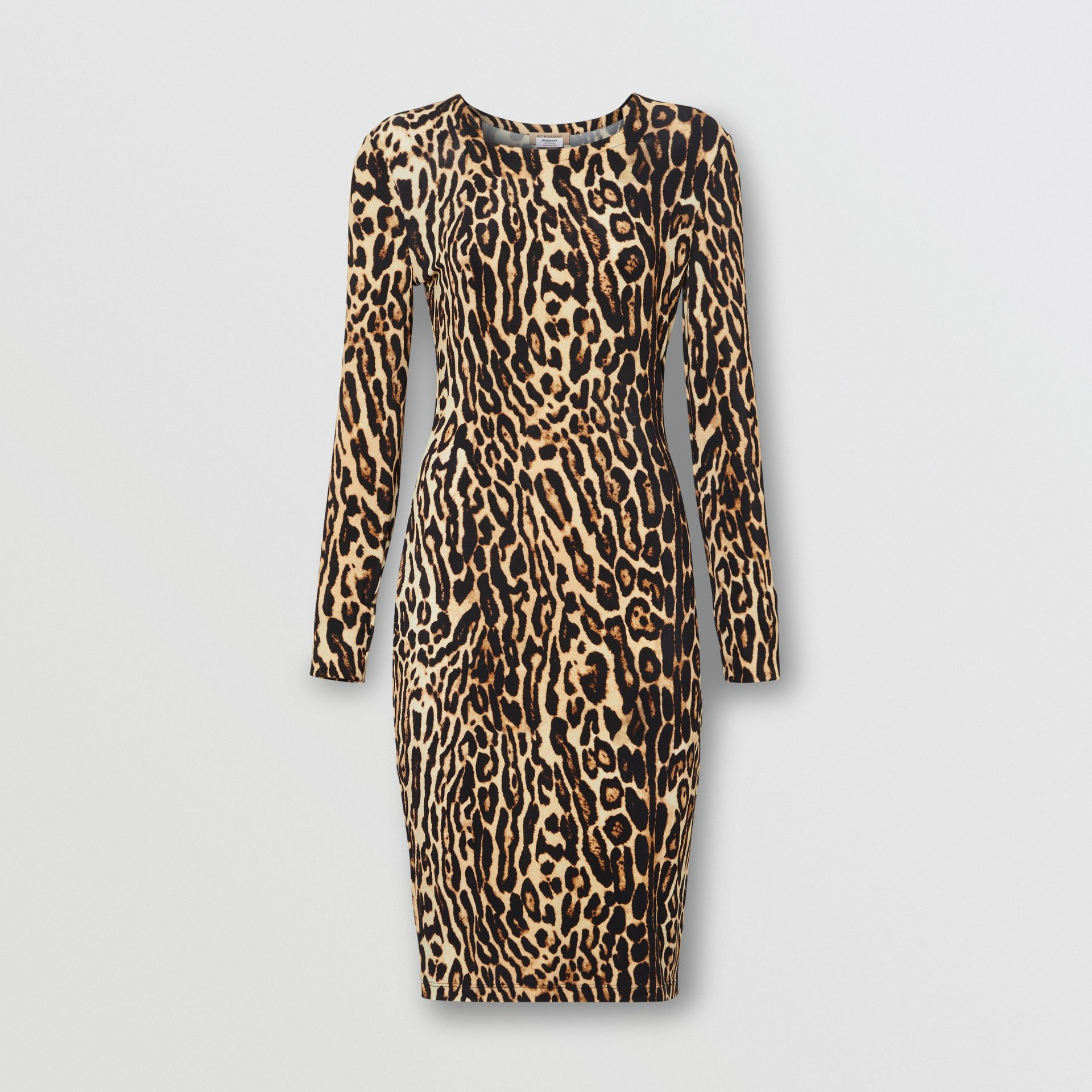 Leopard Print Stretch Jersey Mini Dress in Camel - Women | Burberry - gallery image 3