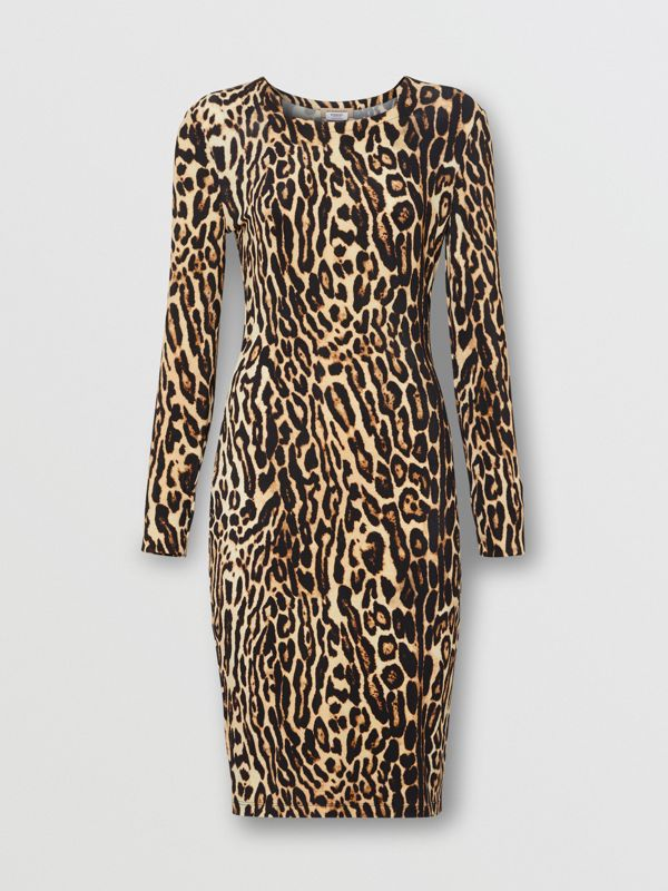Leopard Print Stretch Jersey Mini Dress in Camel - Women | Burberry - cell image 3