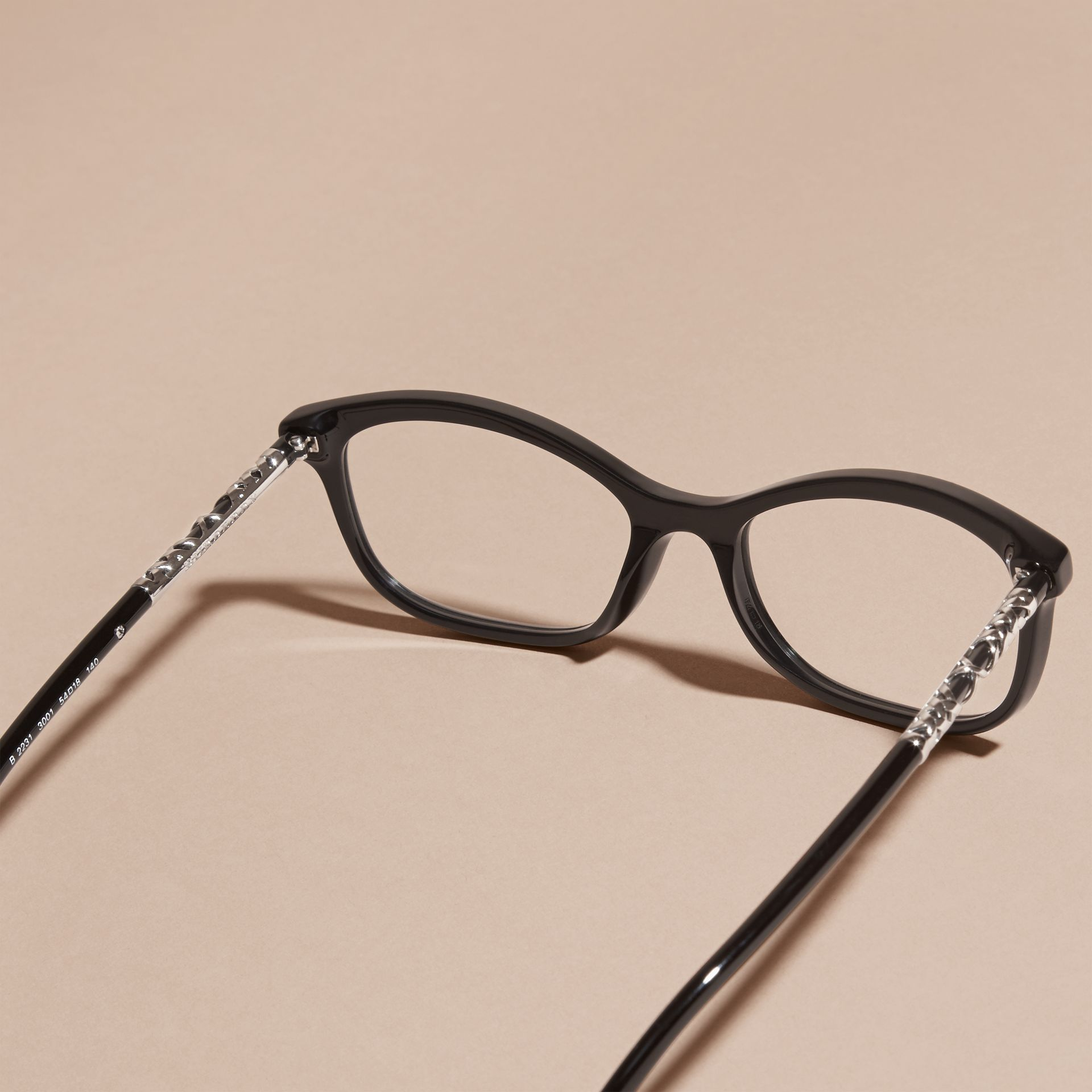 Check Detail Oval Optical Frames Black - gallery image 3