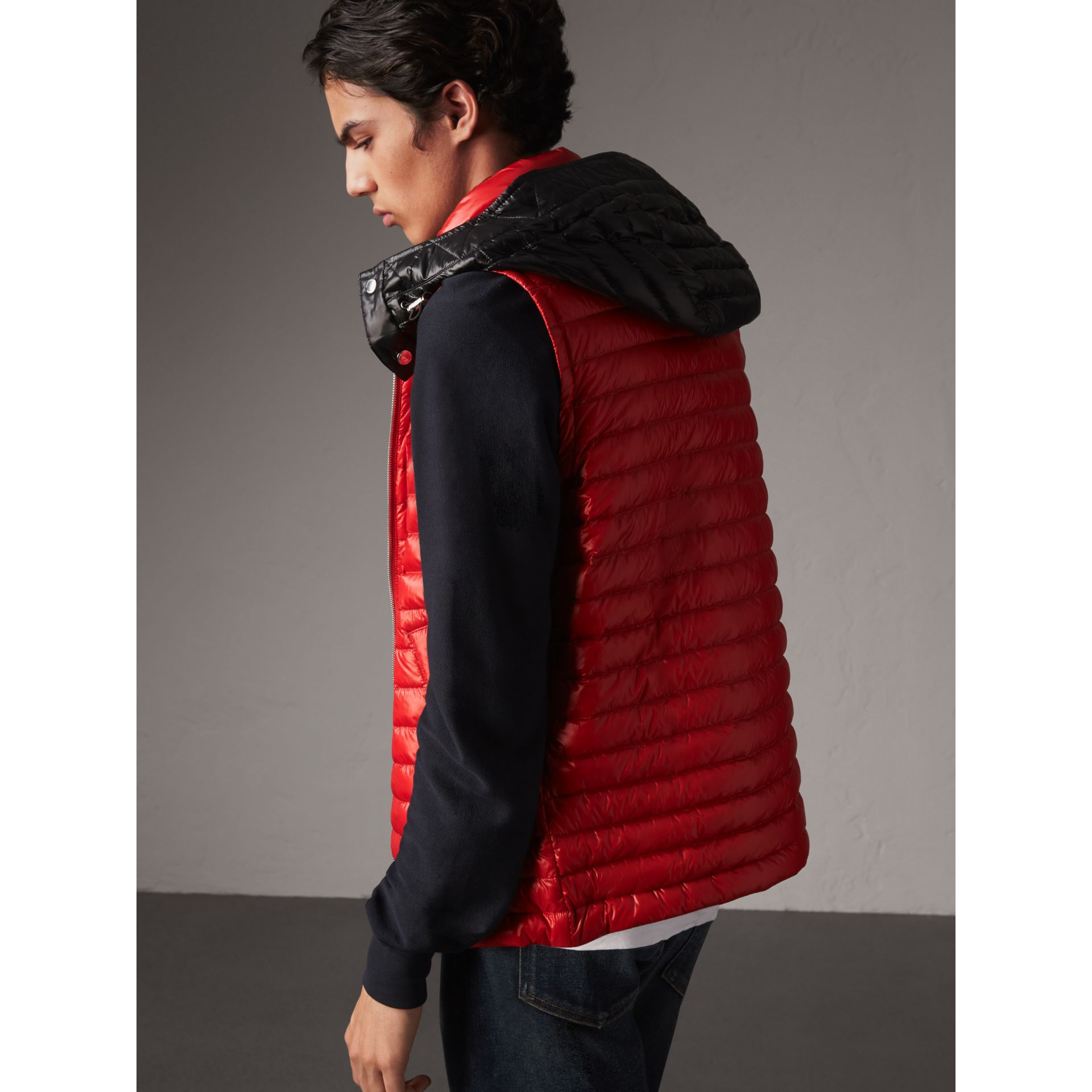 Detachable Hood Packaway Goose-down Gilet in Military Red - Men | Burberry - gallery image 3