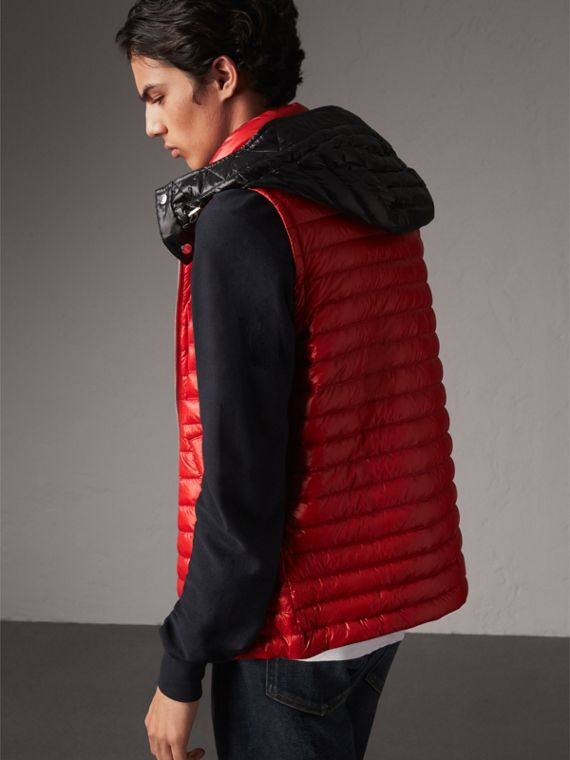 Detachable Hood Packaway Goose-down Gilet in Military Red - Men | Burberry - cell image 2