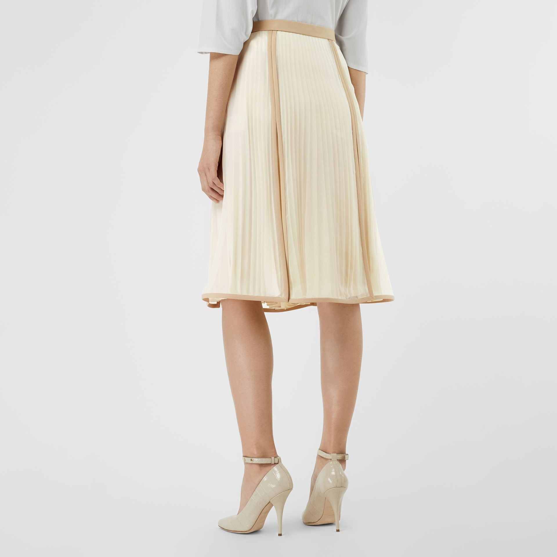 Chiffon Panel Silk Pleated Skirt in Magnolia - Women | Burberry - gallery image 2